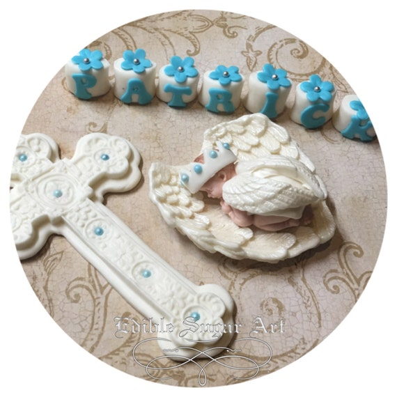 117 Angel Blue Christmas Ornament Baptism Shower: BAPTISM CAKE TOPPER Christening Angel Wings Gown Cross Baby