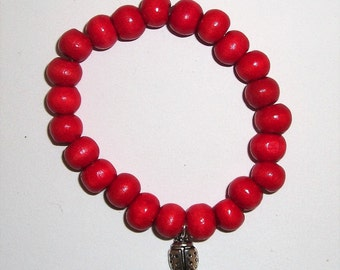 Ladybird Ladybug Red Bead Bracelet - Childrens party bags