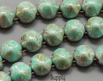 Turquoise Green Picasso Tipp Beads - 20 beads - 2244 - 8mm Turquoise Green Picasso Tipp Beads