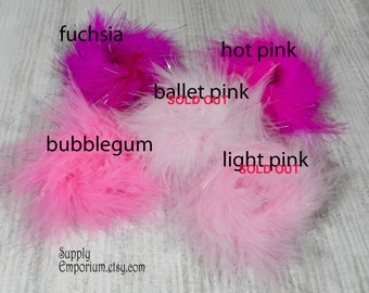 "Assorted Colors Marabou Puff - 3"" Marabou Feather Puff - 6 Pieces"