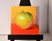 Small apple painting Small still life kitchen decor Fruit painting food canvas original acrylic 4 X 4 inches  mini gift original fine art