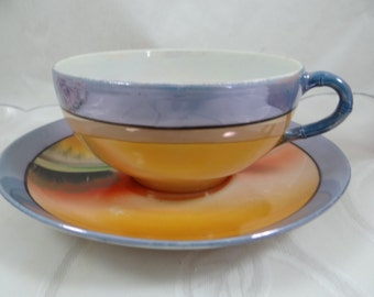 Hand Painted 1930s Vintage Takito Japan Lusterware Teacup and Saucer Japanese Tea Cup