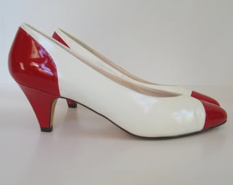 White Leather Red Patent Leather Pumps by JOYCE size 8 M made in U.S.A. vintage 1980's Office Teacher High Heels excellent vintage condition