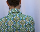 Seaplane 'Kaleidoscopic Ocean' Fun Print Button Down Shirt. Long- or Shortsleeve. 100% Cotton