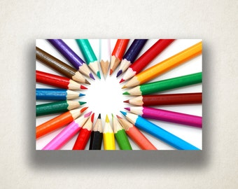 Colored Pencils Canvas Art, Colored Pencil Photograph Wall Art, Art Supply Canvas Print, Photograph, Canvas Print, Home Art, Wall Art Canvas