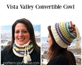 Crochet Pattern Cowl Scarf Hat, Vista Valley PDF 16-A