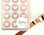 """Envelope Seals - 1"""" Heart Stickers - Rose Gold - Rose Gold Label - Party Favors - Gift - Gift Wrapping - Birthdays - Wedding - Seals"""