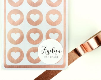 "Envelope Seals - 1"" Heart Stickers - Rose Gold - Rose Gold Label - Party Favors - Gift - Gift Wrapping - Birthdays - Wedding - Seals"