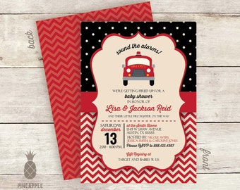 Vintage Inspired Fire Truck Baby Shower Invitations