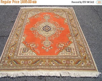 SUMMER CLEARANCE 1970s Retro, Hand-Knotted, Retro Tabriz Tabatabaie, Persian Rug (3011)