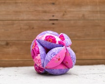 Amish Fabric Puzzle Ball Pink Purple Flowers Baby Child Pet Toy