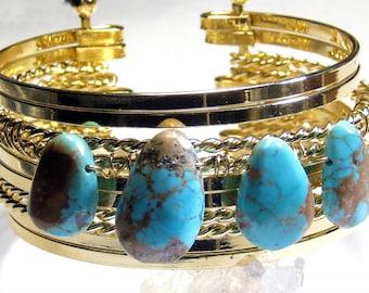 Turquoise Gold Cuff Bracelet  Bohemian Jewelry