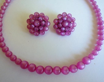 Vintage Pink Moonglow Necklace and Earrings
