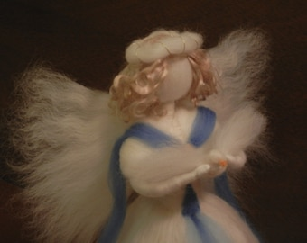 XL Angel tree topper with dove - needle felted waldorf style - white and blue - merino and other wool - item 1-4018