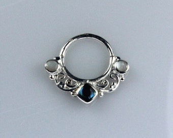 Silver Plated Brass Septum Ring with Mother of Pearl Shell and Abalone Shell Inlay (brass septum 008)