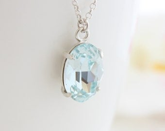 Light Azore Necklace • Silver necklace with a light azore Swarovski pendant