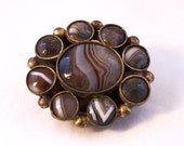 Vintage Victorian Agate Brooch Oval Brooch Quartz Brooch Banded Agate Brooch Scottish Brooch
