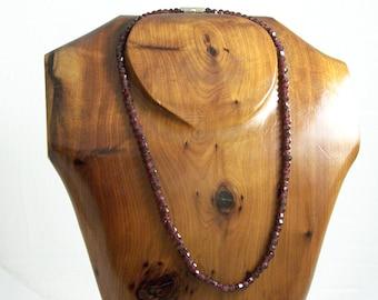 Vintage Garnet Necklace, Fancy Garnet Necklace, Faceted Garnet Necklace, Garnet Beaded Necklace,  Garnet Chain