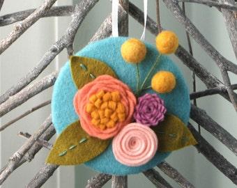Felt Flower Bouquet Ornament - Felt Billy Balls - Boho Decor - Mini Wall Plaque - Teacher Gift