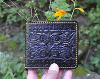 Leather wallet, Bi-fold wallet with Kazakhsha styled pattern