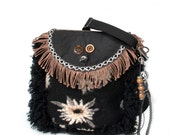 Western crossbody bag in black and brown, bohemian shoulder bag with fringe and flower, unique handmade purse OOAK, unique woman gift