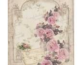 Digital Pink Rose Paper, Digital Paper, Vintage Rose Scrapbook Paper, Vintage Scrapbook Collage, Shabby Chic Rose Paper. No. 676