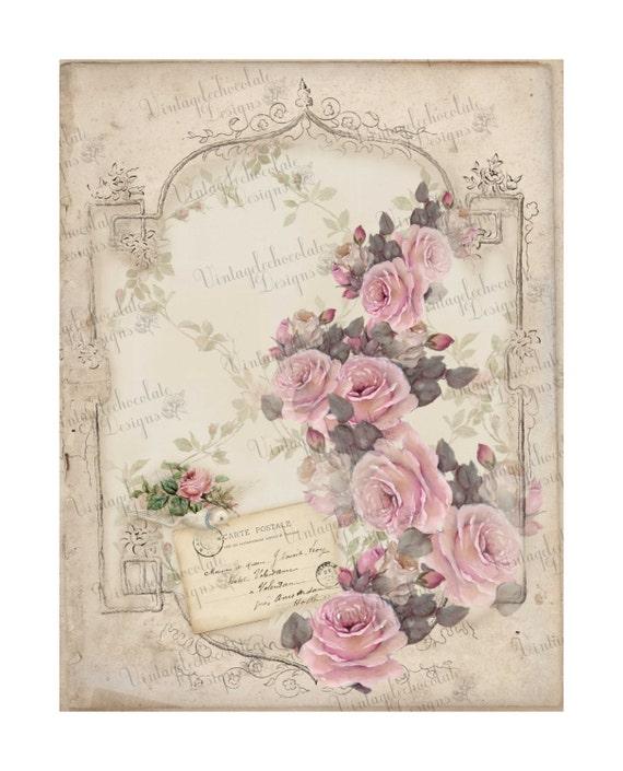 Digital Pink Rose Paper, Digital Paper, Vintage Rose