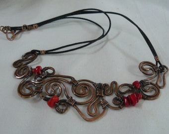 Sale Copper luxury necklace with red natural coral