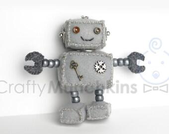 Cute Gray Plush Felt Robot