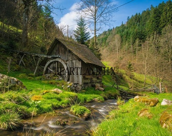 "Digital Download Photo ""Old Mill in the Forest"" Wall Art"