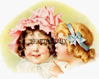 Two Cute Girls Download Printable Wall Art for Framing or Crafts Digital Image