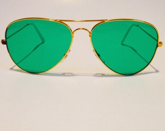 Vintage Gold Aviator Green Lenses Sunglasses
