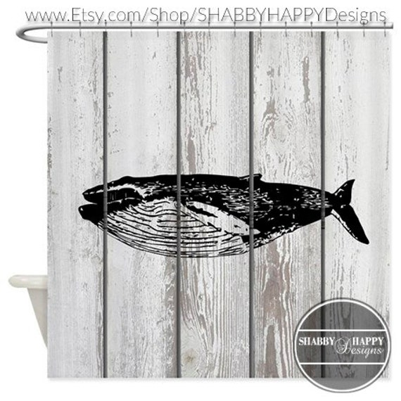 Shower Curtain Art Design Sea Creature Whale Painted On