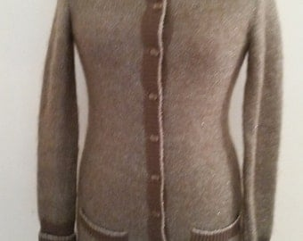 1980's Mohair Cardigan Sweater Brown With Silver Metallic Accent Tunic Style Evening Wear Made in Hong Kong by Outlander Size S