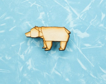 Origami Bear pin badge - gift for lovers of Japan, paper folders, origami jewelry, Japanese jewellery, Japanese jewellery