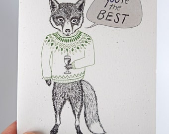 Fox & Sweater // 4x6 illustrated note card / Write-your-own message