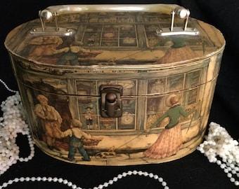 Anton Pieck Decoupage Collage Wood Box Bag Purse - The Clock Shop
