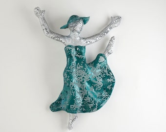 ballerina gift, ballerina decor, Metal wall art, home decor, woman dancing, wall hanging, wire mesh sculpture