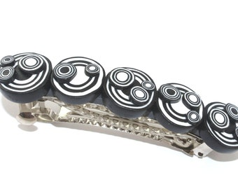 Elegant barrette, polymer clay barrette, black and white barrette, hair jewelry for women and girls.