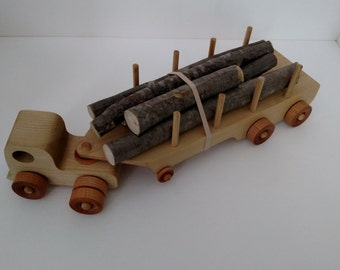 Wooden Logging Truck filled with real logs, child safe glue is used.