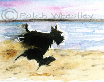 Scottie Dog 'Beach Run'  Art Print 8X6 inch #165