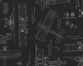 Planes Vintage Blueprints in Black by Savannah Lockie - Masculine Fabric Robert Kaufman Black and White Fabric  Aviation Fabric