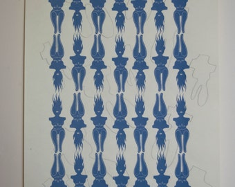 Inuit Goddess Screen Print - Blue with hand drawn figures
