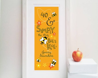 Bees Knees' Personalised 40th Print-40th Birthday Gift-40th Birthday Print-Gift for Friend-Personalized Birthday Gift-Gift for Mum