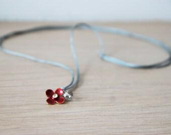 Tiny red pendant, red enamel flower, boho, gold plated brass pendant, tiny red flower necklace, girls and little girls flower neckalce