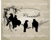Friends Bird silhouettes Tree branch Instant graphic digital download image transfer for iron on burlap decoupage paper pillow tote No gt201