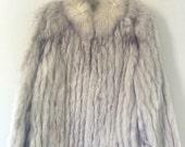 SAVE MORE VTG 80's 90's Saga white fix fur coat Jacket (s)