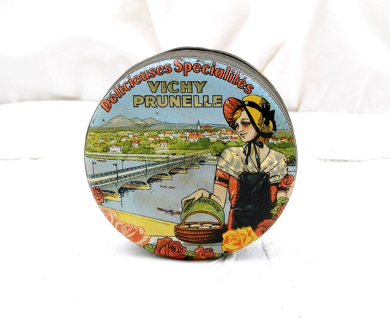 Antique French Metal Candy Tin, Vichy Prunelle, Illustration of the Allier River, Young Woman and Roses, Retro Vintage Home Decor, Country