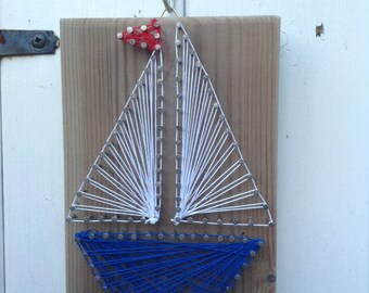 Driftwood String Art Boat Hanging