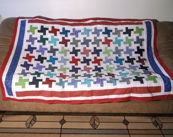"Couch Quilt with Colorful ""X"" Design and a Fun Teddy Bear Fleece as a Backing"